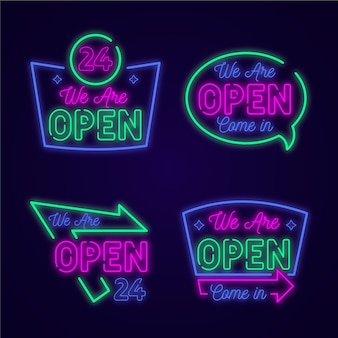 Set of neon lights with we are open signs