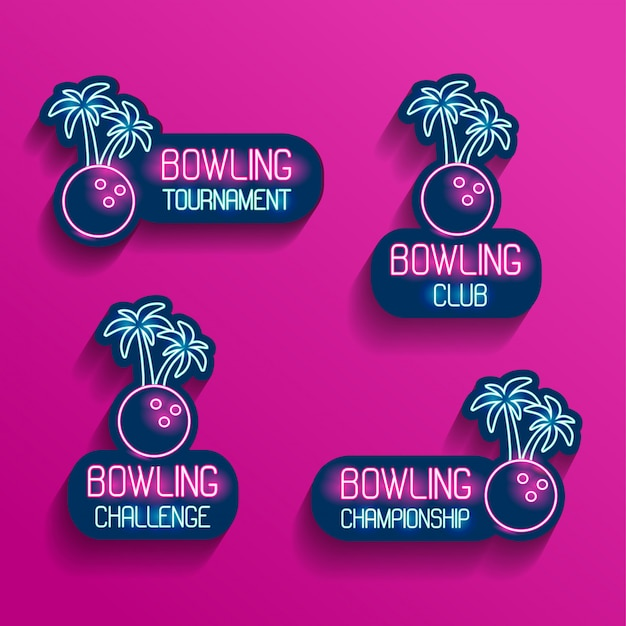 Set of neon logos in pink-blue colors with falling shadows. collection of 4 vector illustrations for tropical bowling for tournament, challenge, championship, club with a bowling ball and palm trees.