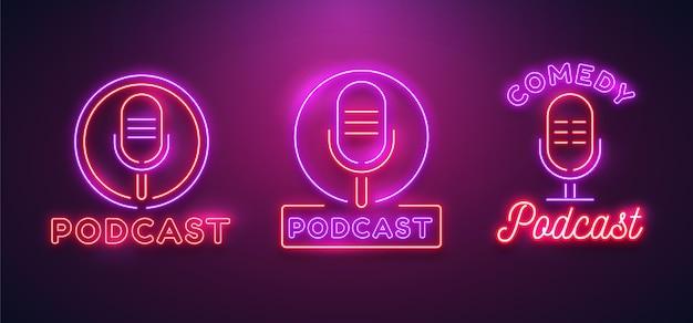Set of neon podcast logos