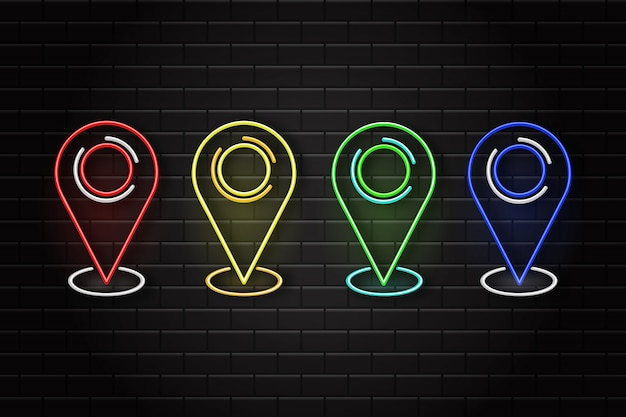 Set of neon retro map pins on the wall background. concept of logistics and transportation.