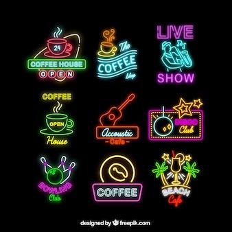Set di insegne al neon per le diverse attività