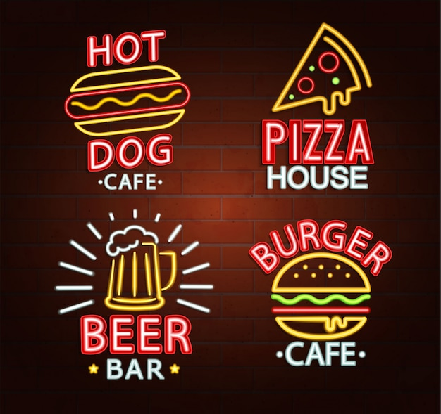 Set of neon signs.