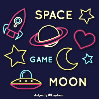 Set of neon space signs