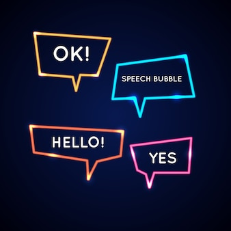 Set neon speech bubbles and blank template for quotes.
