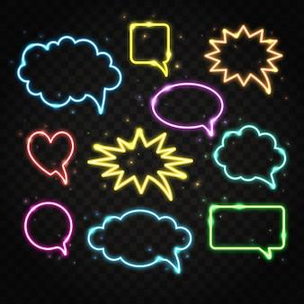 Set of neon speech bubbles