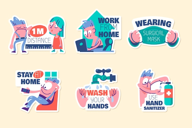 Set of new normal lifestyle cute cartoon with lettering