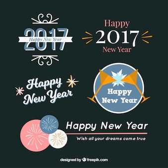 Set of new year 2017 stickers