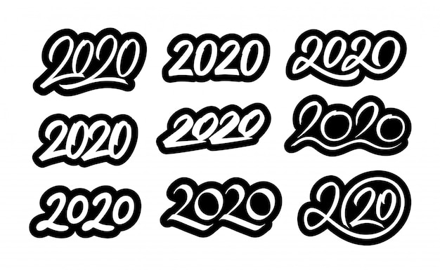 Set of new year 2020 calligraphic numbers