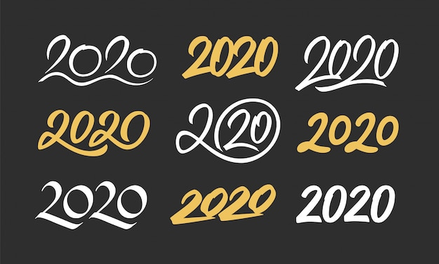 Set of new year 2020 calligraphy numbers