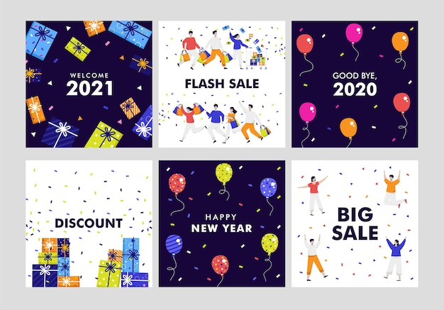 Set of new year banner template