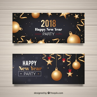 Set of new year banners with golden baubles