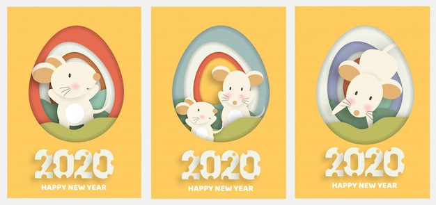 Set of new year cards. chinese new year 2020 year of the rat .