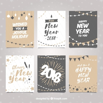 Set of new year cards in neutral colours
