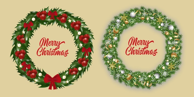 Set new year and christmas wreath. traditional garland with snowflakes, ribbons, golden and silver baubles on christmas tree branches isolated, of holly with red berries decorated red bows.