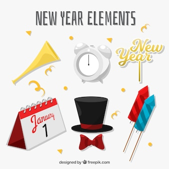 Set of new year elements