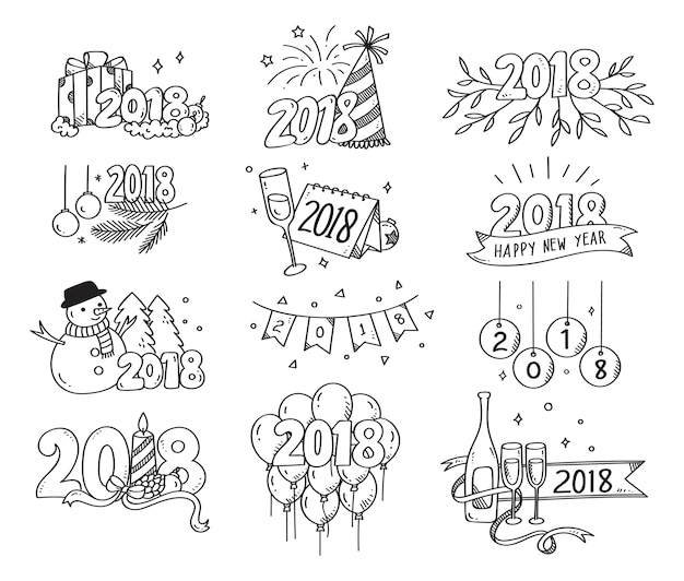 Set of new year greeting doodles isolated on white background