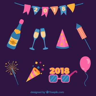 Set di elementi di festa del nuovo anno