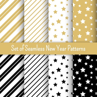 Set of new year party patterns