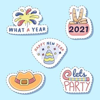 Set of new year sticker design