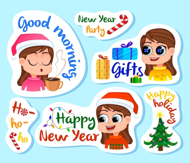 Set of new year stickers or magnets festive souvenirs holidays sticker label