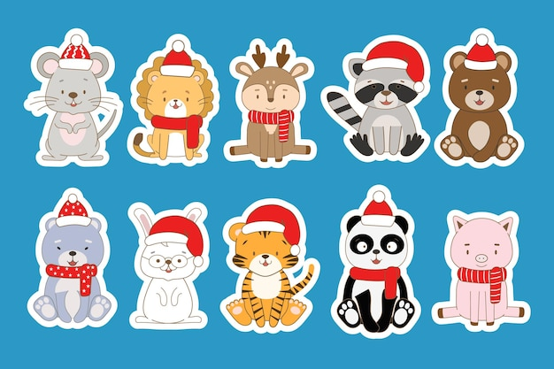 Set of new year stickers with cute animals