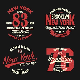 Set of new york brooklyn vintage brand graphic for tshirt original clothes design with grunge