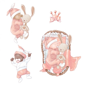 Set of newborn baby shower birthday. hand drawing