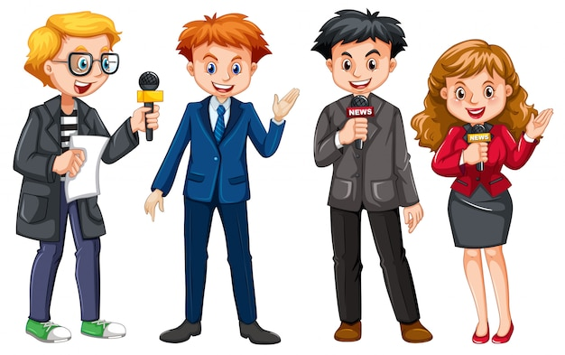 Set of news reporter character