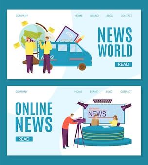 Set of news world landing pages