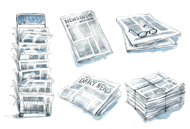 Set of newspapers, press stand watercolor illustration