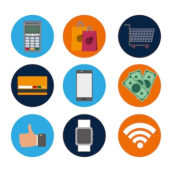 Set nfc technology with dataphone transaction to shopping