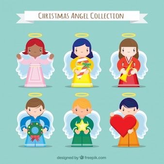 Set of nice angels characters with ornaments