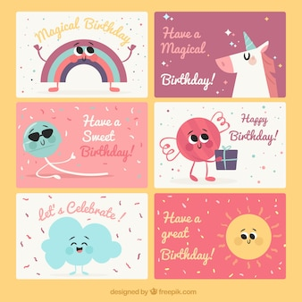 Set di biglietti di compleanno piacevoli con personaggi simpatici