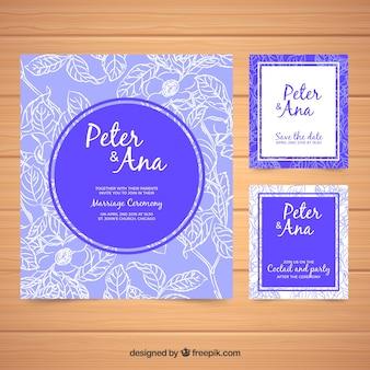 Set di simpatici inviti di nozze nei toni del blu