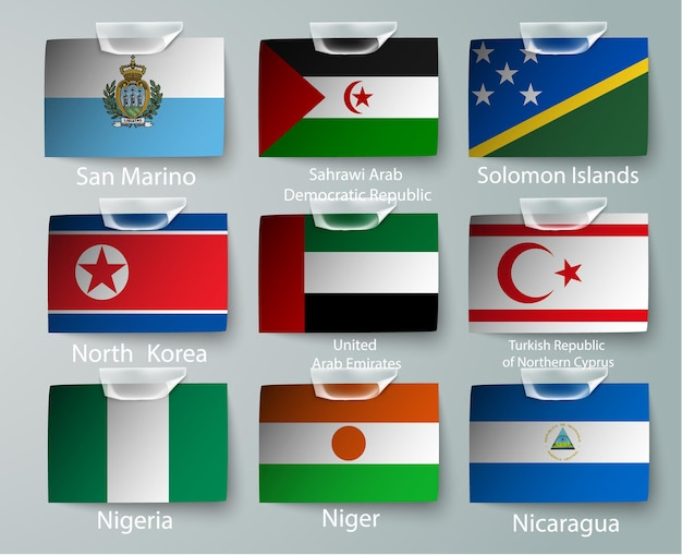 Set of nigeria flags collection isolated on white