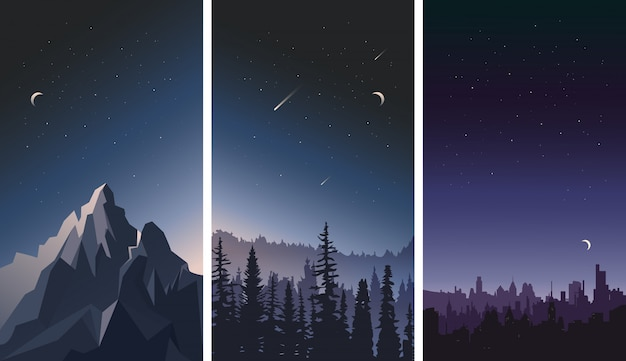 Set of night sky landscapes. city, mountains and forest on a background of stars.