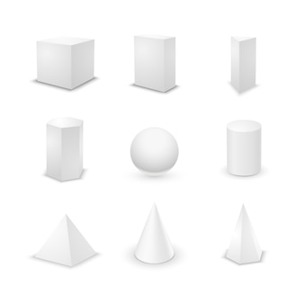 Set of nine basic elementary geometric shapes, blank 3d primitives isolated