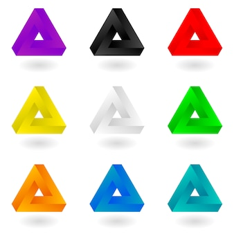 Set of nine bright colorful penrose triangles.