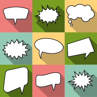 Set of nine cartoon comic balloon speech bubbles in flat style. elements of design comic books without phrases. vector illustration