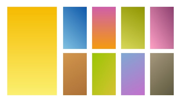 Set of nine colorful gradient backgrounds. collection of gradients for smartphones screen and mobile apps. vector illustration.