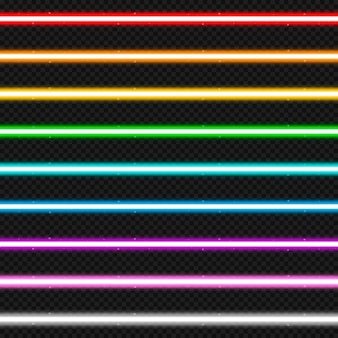 Set of nine colorful laser beams.