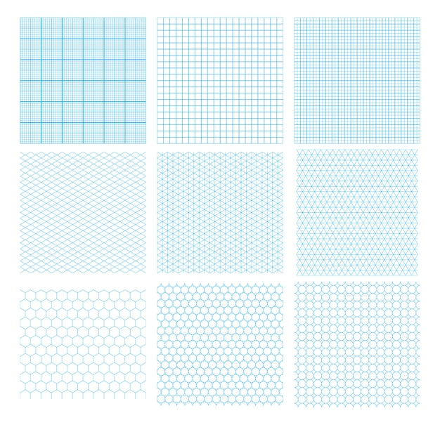 Set of nine cyan geometric grids, seamless patterns isolated . millimetric, isometric, hexagonal and circles.