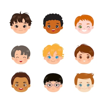 Set of nine different boys head