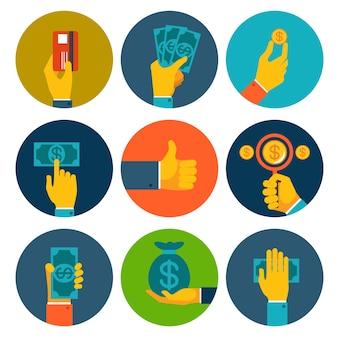 Set di nove diversi soldi colorati nelle icone delle mani con note di dollaro