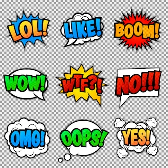 Set of nine different, colorful stickers at colorful comic strip. pop art speech bubbles with  lol, like, boom, wow, wtf, no, omg, oops, yes.