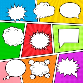 Set of nine different comic elements at colorful comic strip background. speech bubbles, emotion and actions frames.