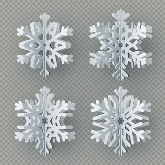 Set of nine different paper snowflake cut from paper  on transparent background. merry christmas, new year winter theme decoration object.