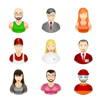 Set of nine different people avatars depicting a diverse community of professionals