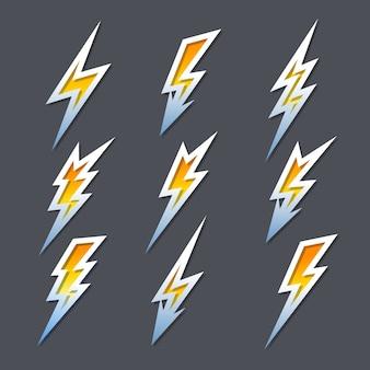 Set of nine different rays