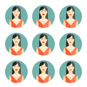 Set of nine different women emotions depicting happiness  joy  sadness  worry  anger  frustration  disbelief and confusion in head and shoulder pose in circular vector illustration